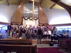 Photo from rehearsal at Epiphany Lutheran Church, December 2015.